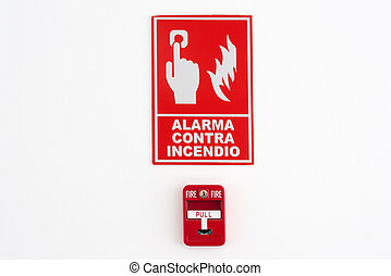 Fire alarm with text in Spanish
