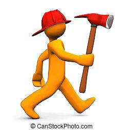 Fire Alert Axe - Orange cartoon character runs with axe....