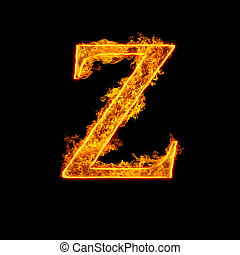 Fire alphabet letter Z