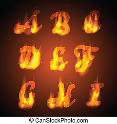 Fire alphabet. Vector.  Letters for the design.