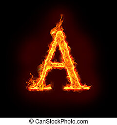 fire alphabets in flame, letter A