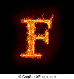 fire alphabets in flame, letter F