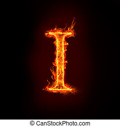 fire alphabets in flame, letter I