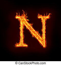 fire alphabets in flame, letter N