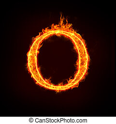 fire alphabets in flame, letter O