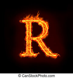 fire alphabets, R - fire alphabets in flame, letter R