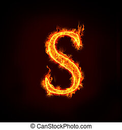 fire alphabets, S - fire alphabets in flame, letter S