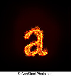 fire alphabets, small letter a