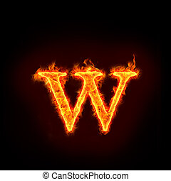 fire alphabets in flame, small letter w