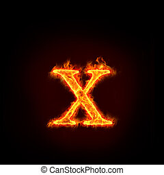 fire alphabets, small letter x - fire alphabets in flame, ...