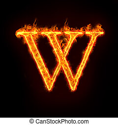 fire alphabets in flame, letter W