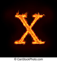 fire alphabets, X - fire alphabets in flame, letter X