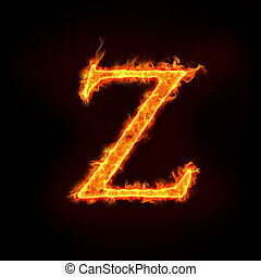 fire alphabets in flame, letter Z