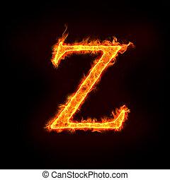 fire alphabets, Z - fire alphabets in flame, letter Z