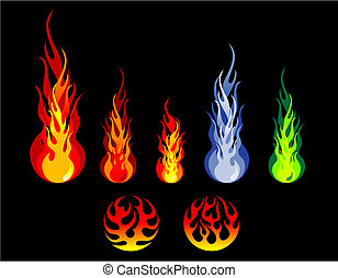 Fire and flame silhouettes - Beautiful fire and flame...