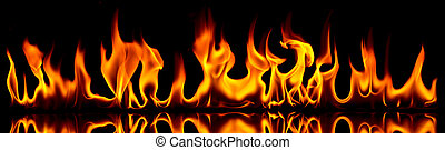 Fire and flames. - Fire flames on a black background.