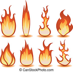 Illustration of a set of cartoon fire elements and flames shapes burning
