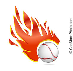fire and fly baseball ball symbol white color