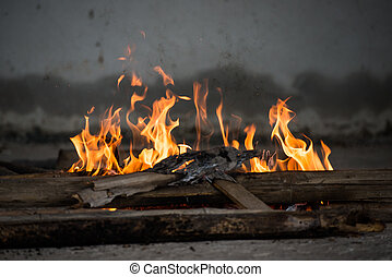 Fire and Frame with firewood 5