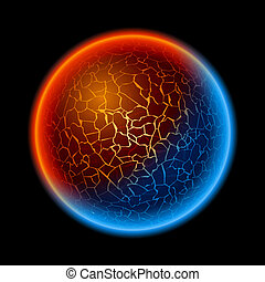 Fire and ice ball planet. Illustration on black background
