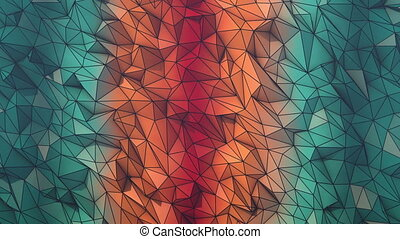 Fire and ice low poly background loop with wire frame