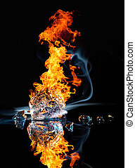 fire and ice - studio photography of a burning ice crystal...