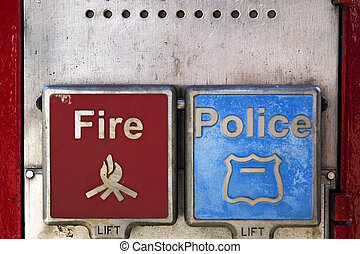 Fire and police emergency call box in New York City