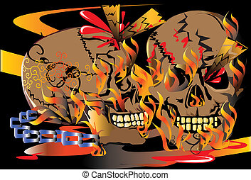 fire and skull