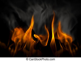 Fire and smoke - Inferno with yellow flames and black and ...