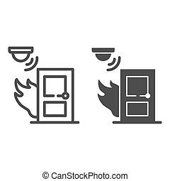 Fire and smoke sensor near door line and solid icon, smart home symbol, Smart smoke detector vector sign on white background, electronic smoke alarm system icon in outline style. Vector graphics.