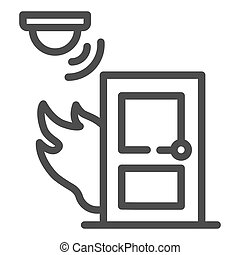Fire and smoke sensor near door line icon, smart home symbol, Smart smoke detector vector sign on white background, electronic smoke alarm system icon in outline style. Vector graphics.