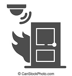 Fire and smoke sensor near door solid icon, smart home symbol, Smart smoke detector vector sign on white background, electronic smoke alarm system icon in glyph style. Vector graphics.
