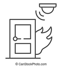 Fire and smoke sensor near door thin line icon, smart home symbol, Smart smoke detector vector sign on white background, electronic smoke alarm system icon in outline style. Vector graphics.