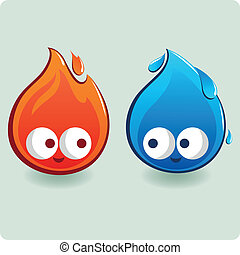 Fire and water characters
