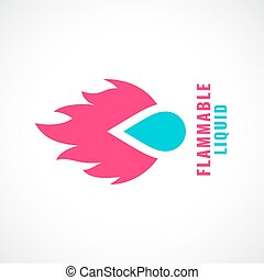 Fire and water drop vector logo