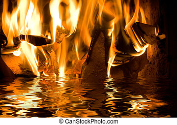 Fire and water - Flames from burning wood reflecting in...