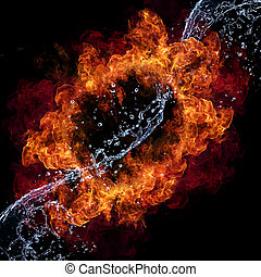 Fire and water - Water and fire connection, representation ...