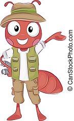 Fire Ant Safari Traveler - Mascot Illustration of a Happy...