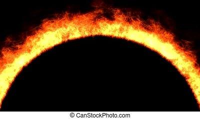 fire, arch shape flame, sun surface