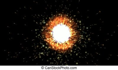 fire aura & explosion in space, flying through black hole tunnel, power energy release, spectacular science fiction scene.