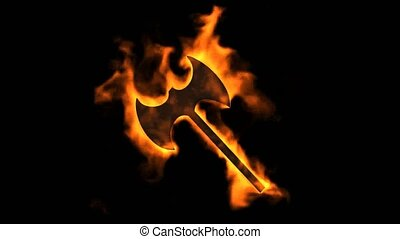 fire axe symbol,burning arms