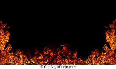Fire background  - Fire flames isolated on black background
