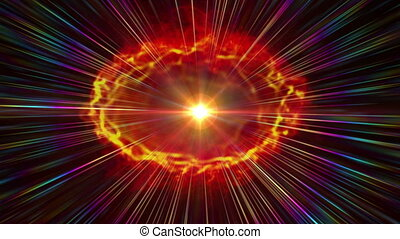 Fire ball abstract flame fusion in space