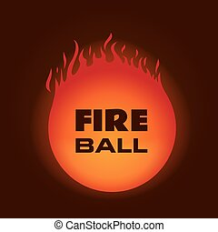 Fire ball. Vector illustration on dark background