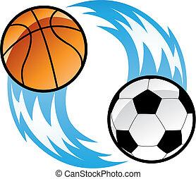 Fire Balls emblem isolated on white, vector illustration