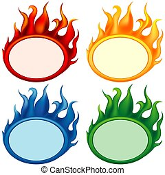 Fire-banners - banners as illustration with flame effects