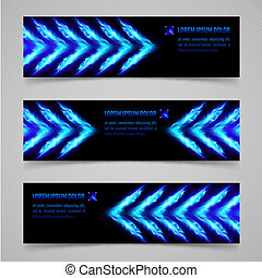 Fire banners - Banners with blue flaming arrows for your...