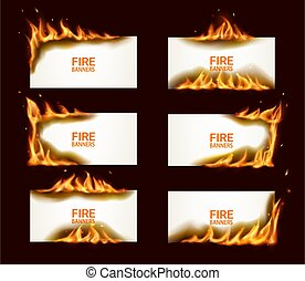 Fire banners, burning paper, vector horizontal pages with flame and sparks. conflagrant cards template for advertising, Realistic 3d flaming frames. Isolated white burning smoldering paper sheets set