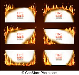 Fire banners, burning paper, vector horizontal pages with flame and sparks. Isolated white burning smoldering paper sheets. Conflagrant cards template for advertising, realistic 3d flaming frames set