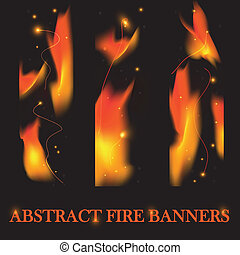 Fire banners vector background